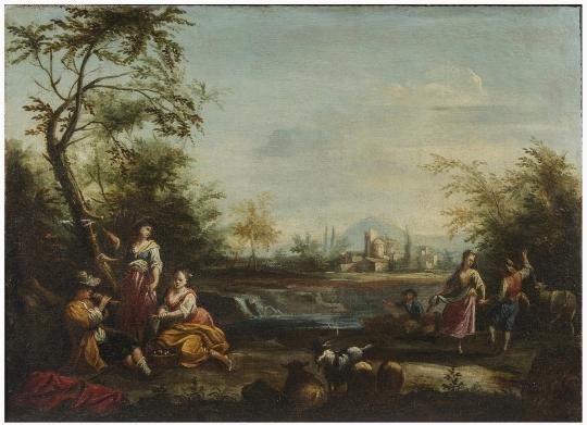Scuola veneta del XVIII secolo, a) b) 'Paesaggi agresti con figure' - OPERE