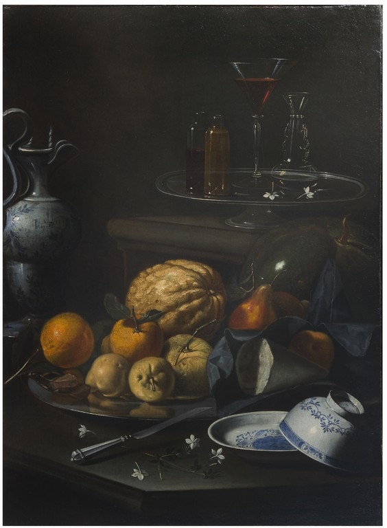 Cristoforo Munari  (Reggio Emilia, 1667 - Pisa 1720) Natura morta con frutta, bottiglie  [..]