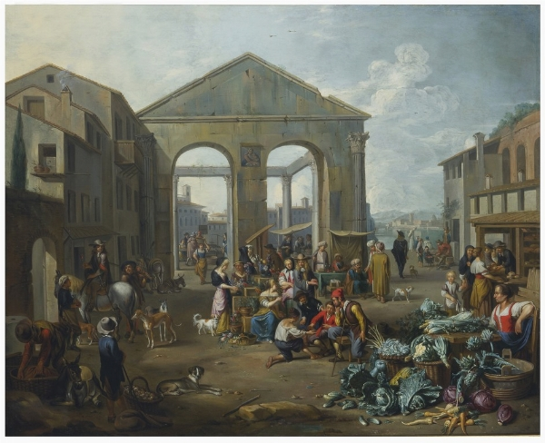 Jan van Buken  (Anversa 1635 - 1694), Veduta di rovina romana con scena di mercat [..]