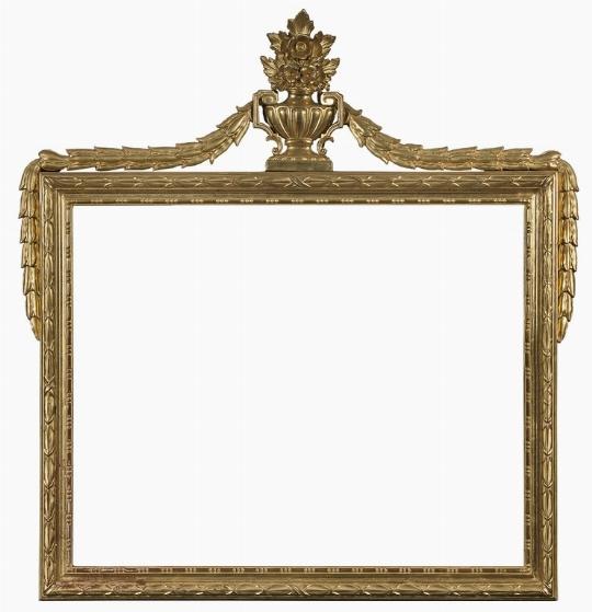 Specchiera dorata con vaso