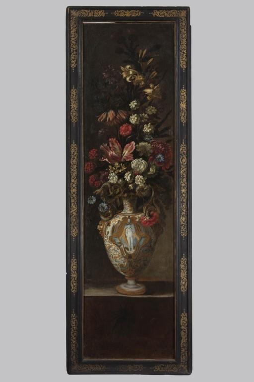 Scuola romana del XVII secolo, 'Vaso in maiolica d'Urbino con grande bouquet di fiori' - OPERE