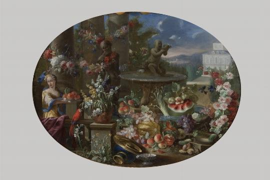 Scuola napoletana del XVII secolo, a) b) 'Trionfo di fiori e frutta con figure' - Galleria
