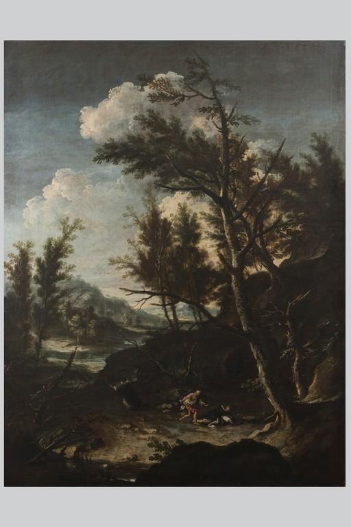 Antonio Francesco Peruzzini, a) 'Fuga in Egitto' b) 'Martirio di San Pietro da Verona' - Galleria