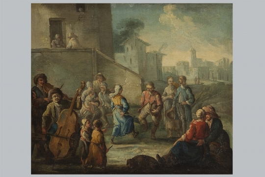 Pietro Domenico Olivero, a) b) 'Festa di paese' - Galleria