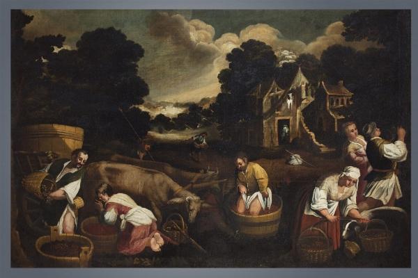 """Scuola bassanesca del XVII secolo, a) b) """"Allegoria delle stagioni"""""""
