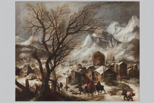 Francesco Foschi, 'Paesaggio invernale con villaggio, figure e cavalieri' - Galleria