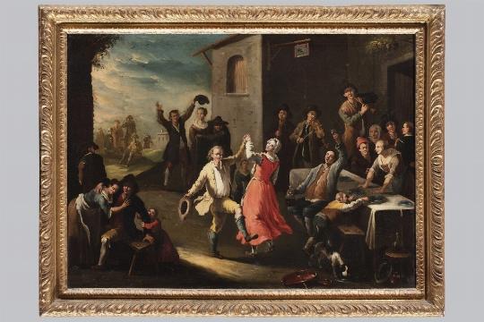 Pietro Domenico Olivero, Festa di paese con contadini danzanti - Galleria