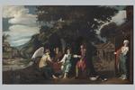"""Scuola olandese dell'inizio del XVII secolo, """"Abramo e i tre angeli"""""""