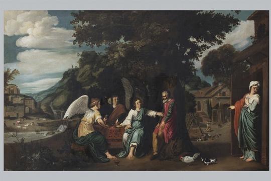 Scuola olandese dell'inizio del XVII secolo, 'Abramo e i tre angeli' - CATALOGO