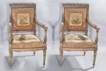 Coppia di poltrone in legno laccato - Galleria