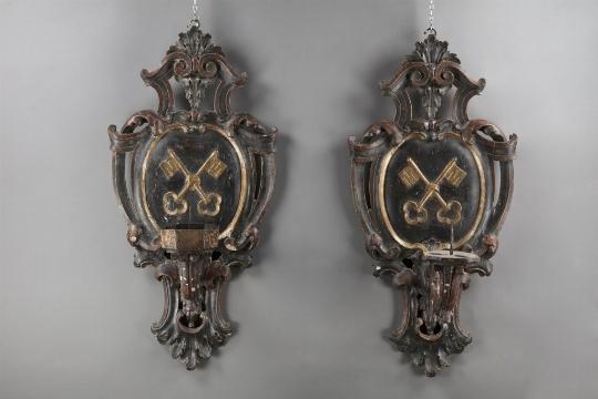 Coppia di candelieri da muro, XVII/XVIII secolo - CATALOGO