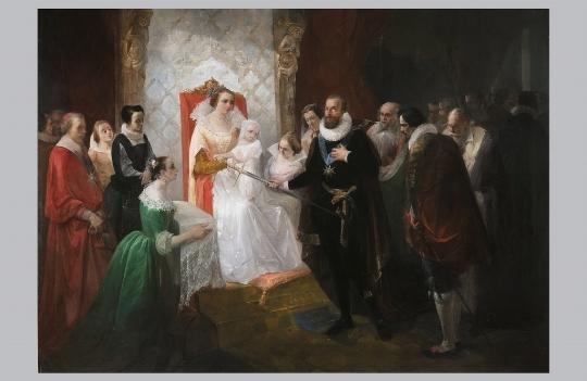 Pittore del XIX secolo, Enrico IV porge la spada al futuro Luigi XIII tra le braccia di Mari [..] - CATALOGO