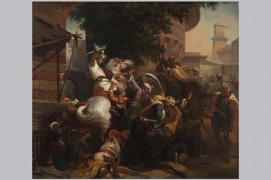 """Pittore della seconda metà del XIX secolo, """"Baiardo difende il Ponte Garigliano"""""""