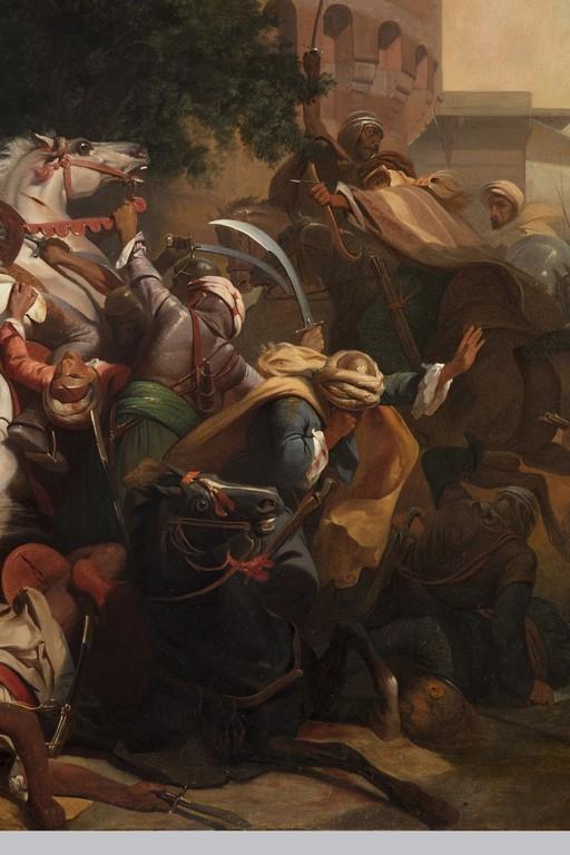 Pittore della seconda metà del XIX secolo, 'Baiardo difende il ponte di Garigliano' - Galleria