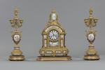 Trittico in bronzo dorato e porcellana, Inghilterra, XIXsecolo