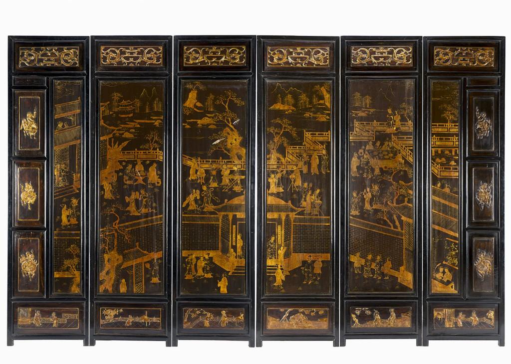 Mobili Cinesi Laccati Neri : Paravento cina inizi xx secolo